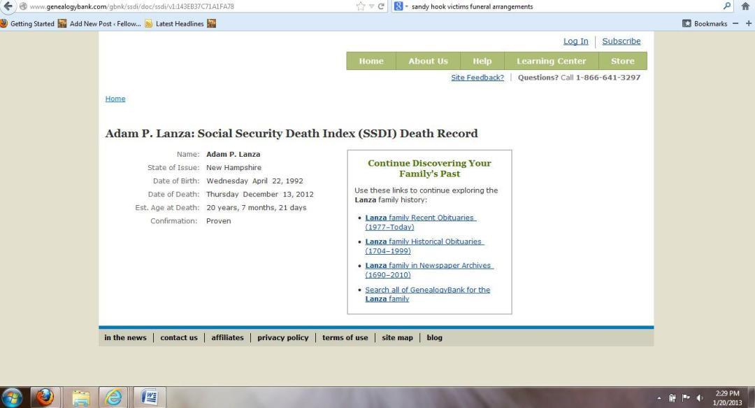 adam lanza social security death index