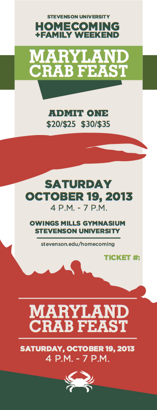 Homecoming + Family Weekend Annual Crab Feast ticket. Designed in conjunction with the Stevenson Social ticket.