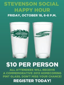 Facebook advertisement showcasing a commemorative 2013 Homecoming pint glass for attendees of the Stevenson Social Happy Hour.