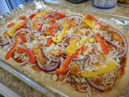 Arrange with the onions and peppers.