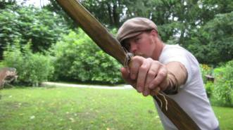 me drawing an elm bow