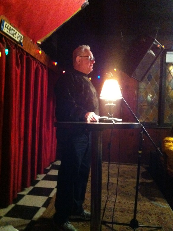 Me at Fergie's Pub Reading Poetry