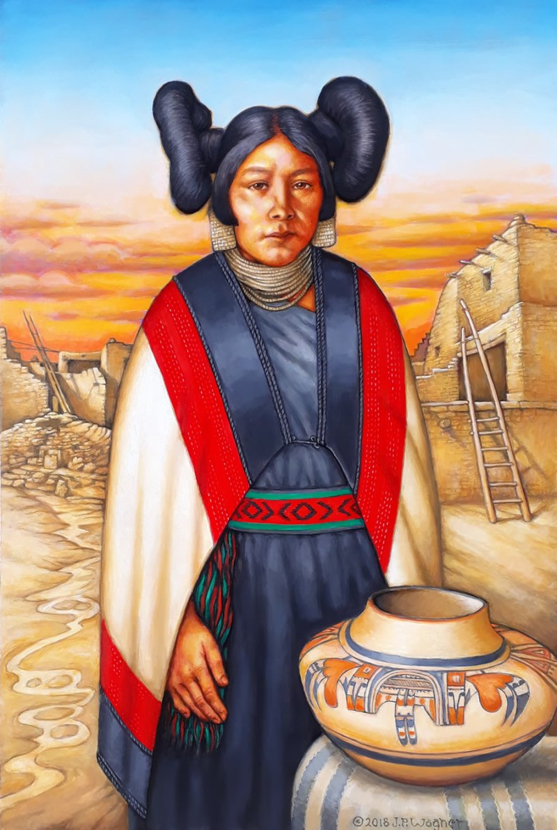 Hopi Maiden with Pot