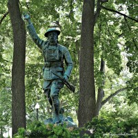 "In Wheaton, Illinois, the ""Doughboy"" statue (1921) by sculptor John Paulding memorializes veterans of World War One. (2 Photos)."