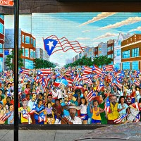 Mural: Sea of Flags, 2004, by Gamaliel Ramirez, Chicago, Illinois.