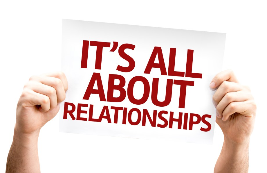It's All About Relationships card isolated on white background
