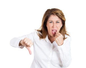 That sucks. Unhappy, pissed off woman giving thumbs down