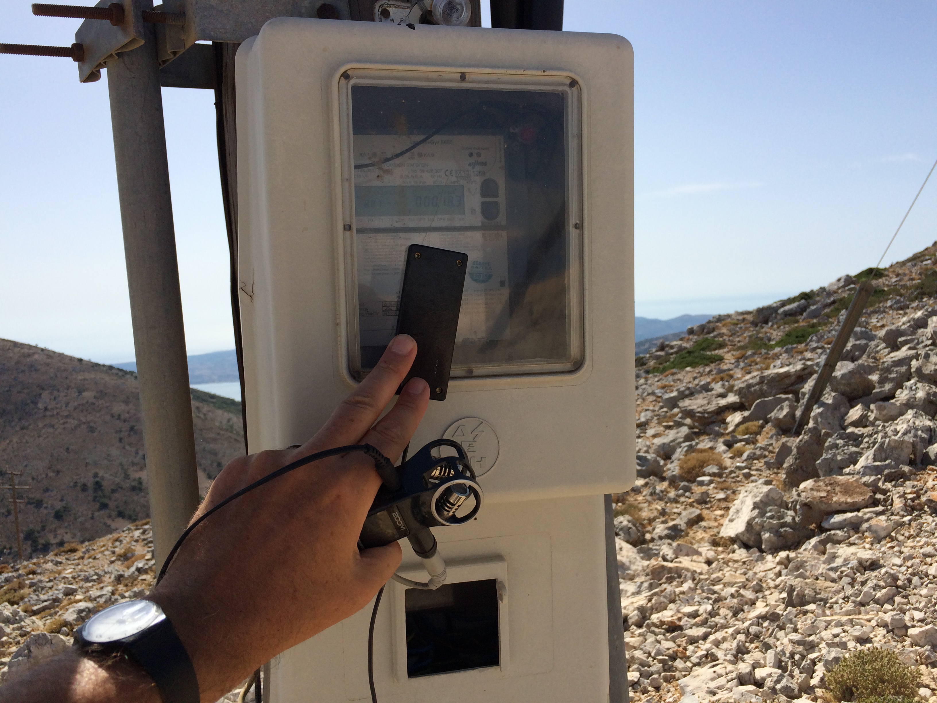 Turbine Electricity. Kefalonia Greece (2015). Siren Earthquake Radio