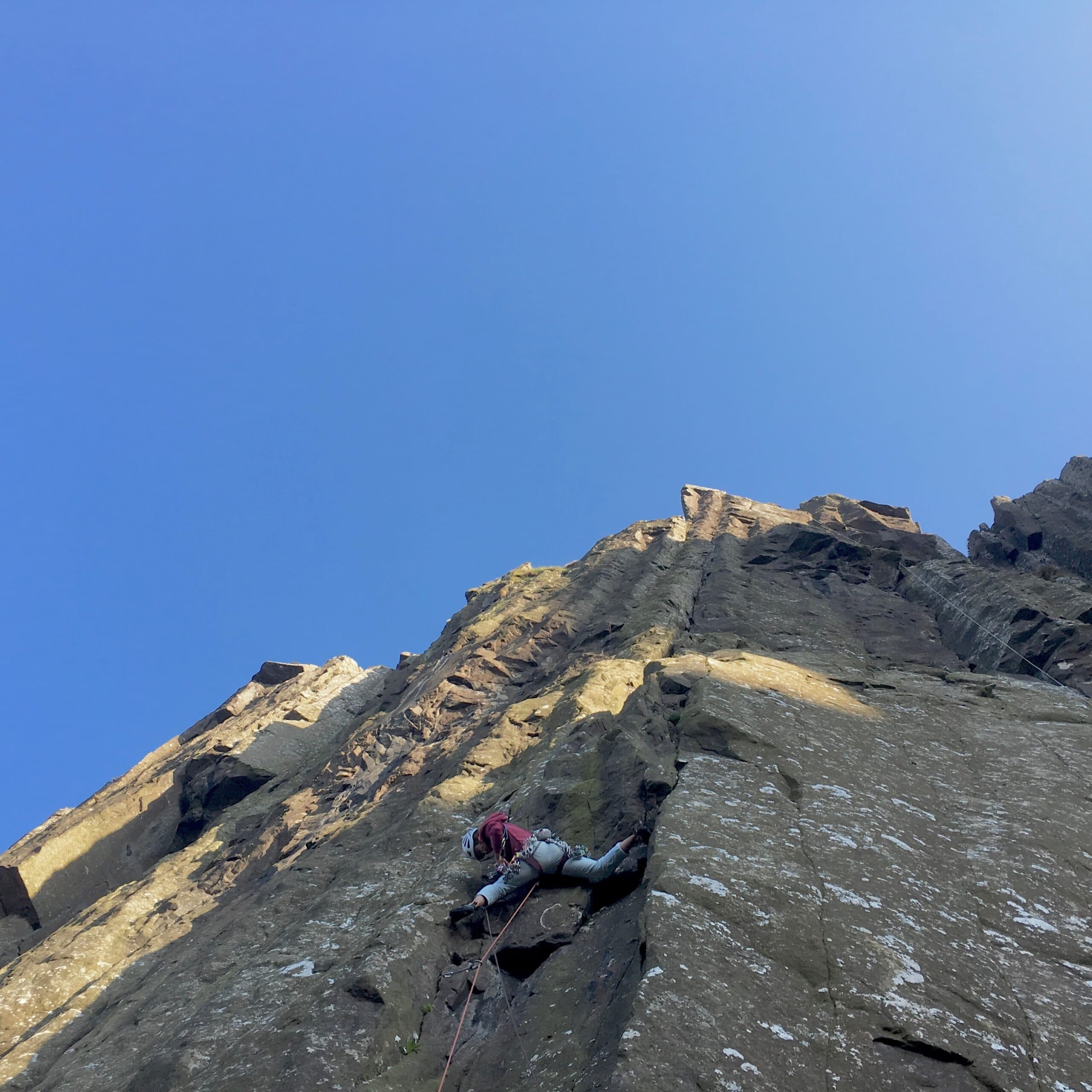 Heather cruising up Halloween, E4 6a. The second pitch is an unrelenting crack which stretches for 45m with barely a move easier than 5b.