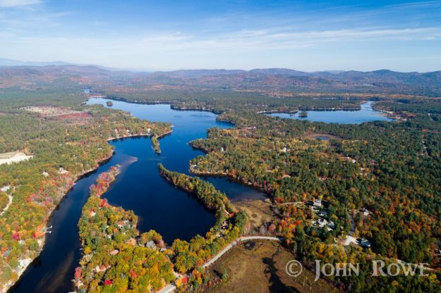 The channel, Cassie Cove, Pickerel Cove, Broad Bay and Leavitt Bay on Ossipee Lake NH