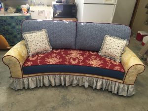 multi-fabric couch