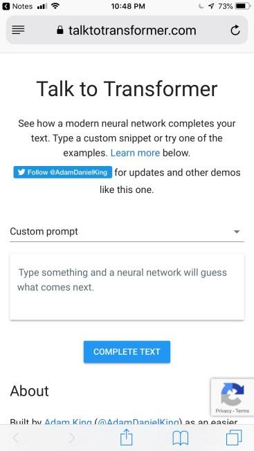 Screen capture of mobile version of Talk to Transformer website.