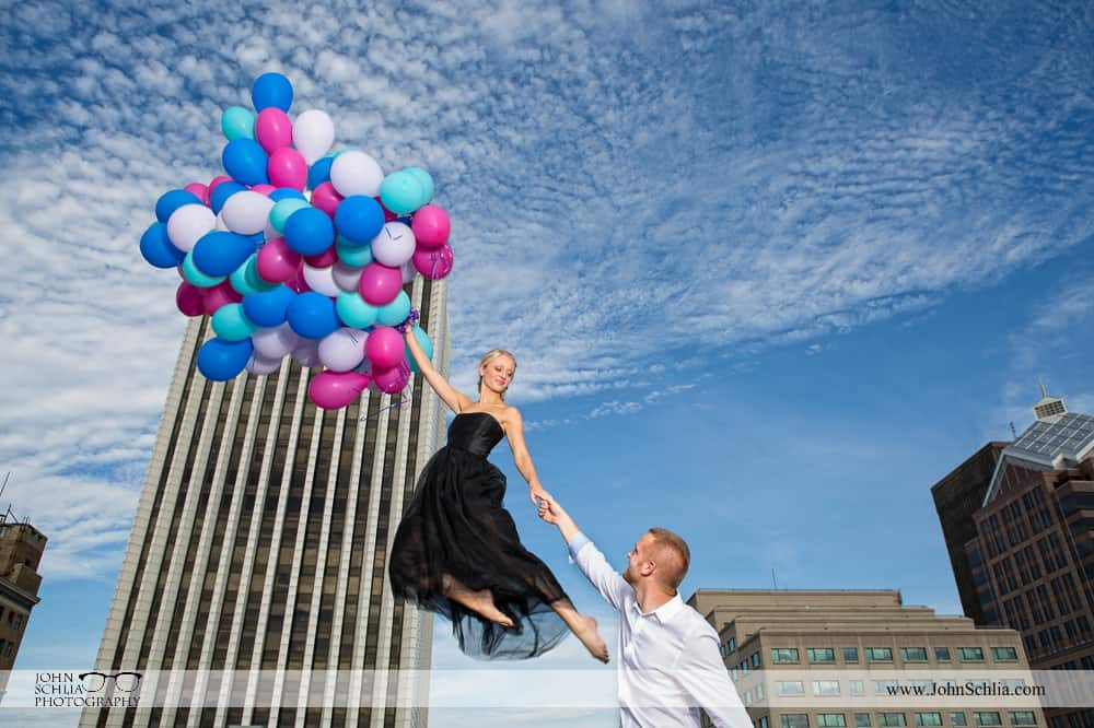 engagement photo with baloons
