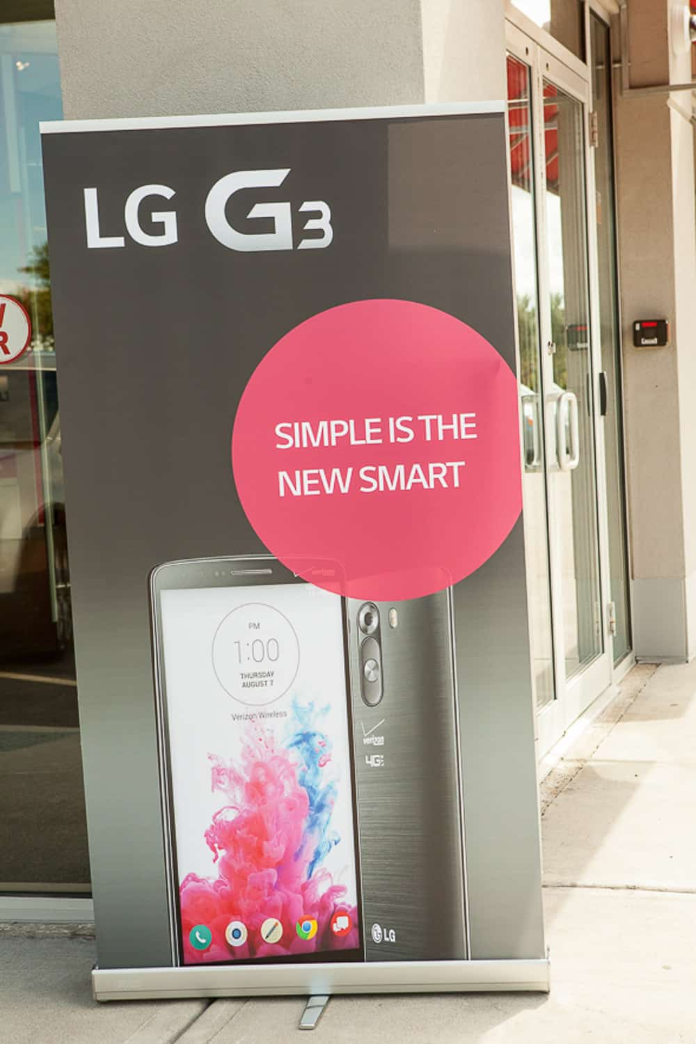 An event photograph of signage for the LG G3 launch.