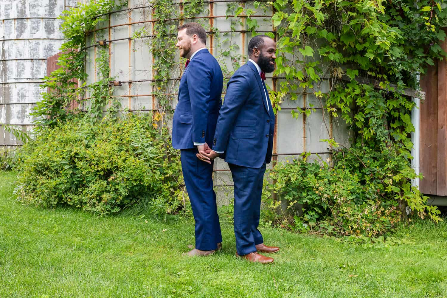 A first look at a twin silos wedding between a same sex couple.