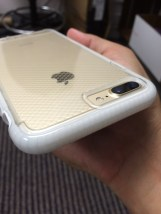 The clear rubber covers the white material in the case, protecting it from getting stained and dirty like other white cases.