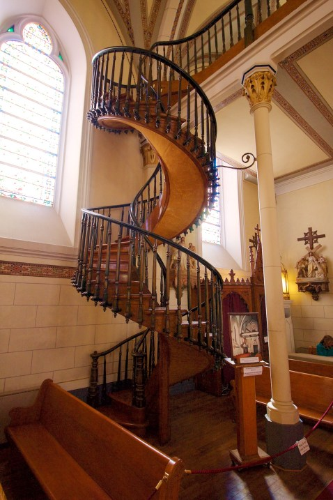 """The """"Miraculous Staircase"""" at the Loretto Chapel."""