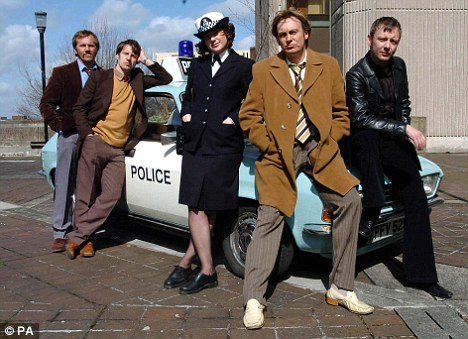 Simm, far right, with his Life on Mars co-stars (from left) Dean Andrews, Marshall Lancaster, Liz White and Philip Glenister