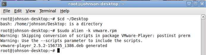$cd ~/desktop $sudu alien -k nameoffile.rpm