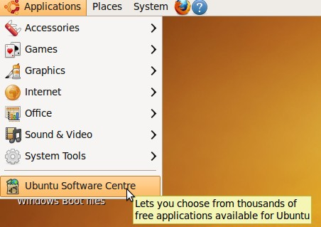 Applications > Ubuntu Software Centre