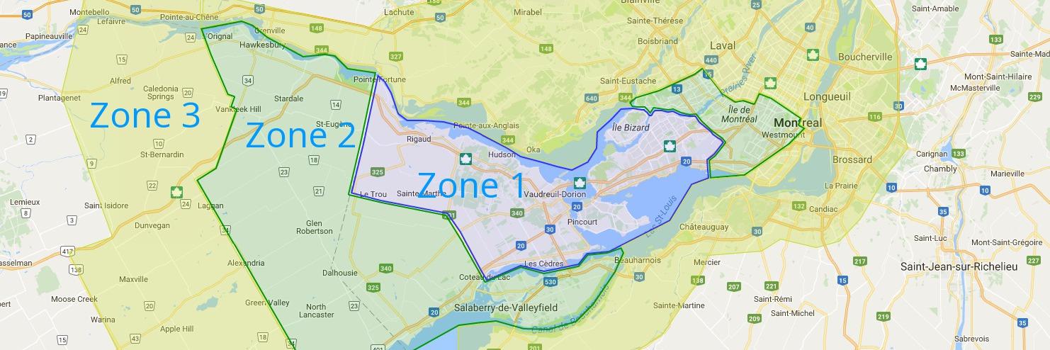 Montreal service area