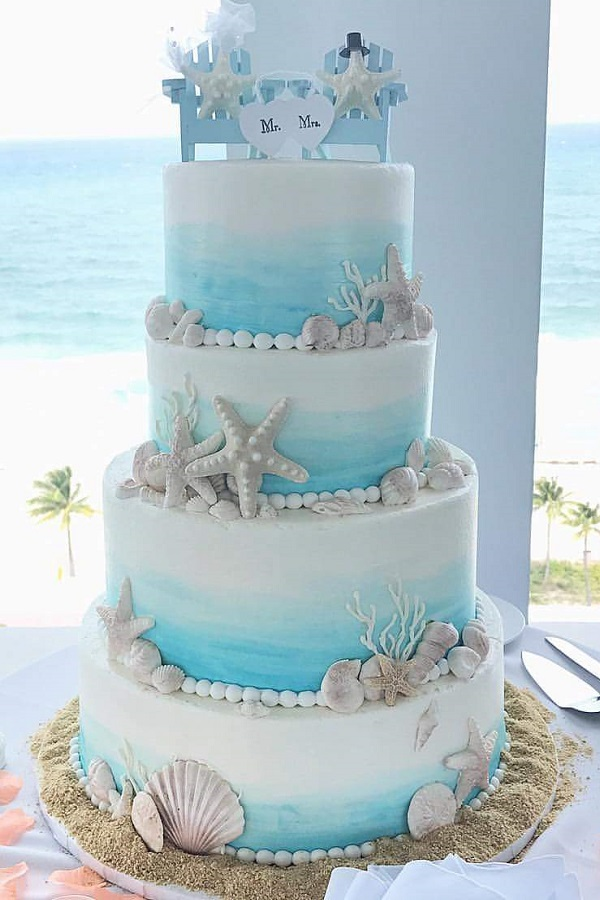 Beach Themed Wedding Cake     Johnson s Custom Cakes beach themed wedding cake