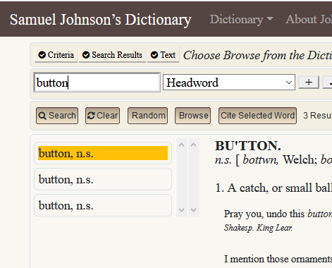 """screenshot of search results for """"button""""; three identical labels for """"button, n.s."""" falsely appear to be an error"""