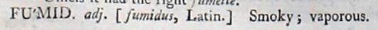facsimile image of Johnson's 1755 entry for fumid, adj. https://johnsonsdictionaryonline.com/1755/fumid_adj