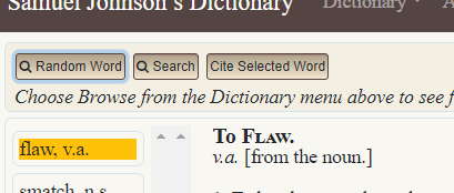 """screenshot of label for """"flaw, v.a."""" next to the transcription of the 1755 entry for To Flaw. v.a."""