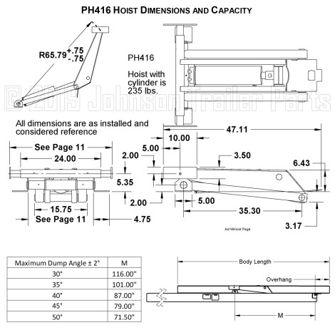PH416 Hoist Dimensions