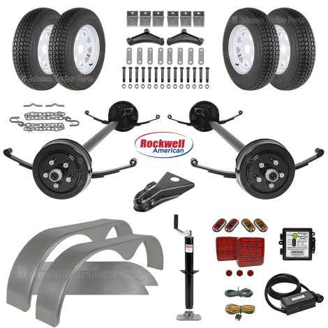 Tandem Brake Axle Trailer Parts Kit - 7,000 lb Capacity