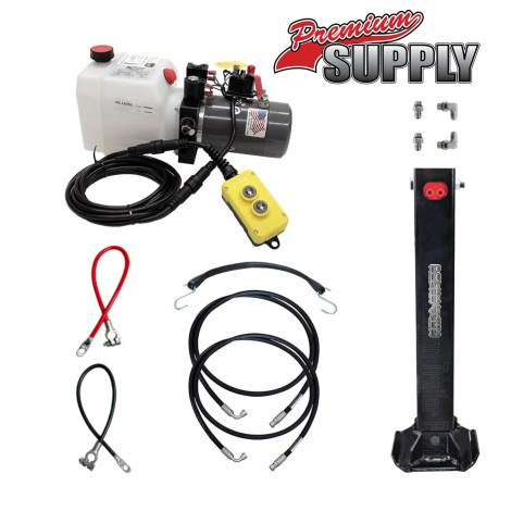 Single Hydraulic Trailer Jack Kit with KTI Hydraulic Pump   Premium Supply