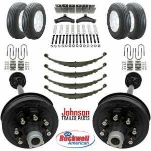 Tandem 7,000 lb Electric Brake Trailer Axle Kit w/ Wheels & Tires