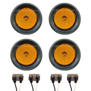 "4 Pack - 2.5"" Grommet Mount Amber LED Side Markers"
