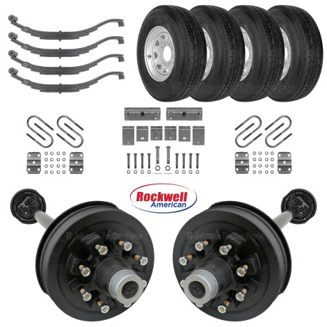 Tandem 7k Electric Brake Axle Kit - Slipper Springs - ST235/80R16