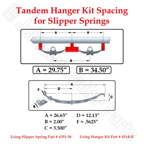 Tandem 7k Electric Brake Axle Kit - Slipper Springs