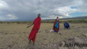 Maasai people on road to Ngorongoro Crater