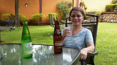 Courtyard of the Executive Airport Hotel in Entebbe, Uganda (the soda is a ginger beer.)