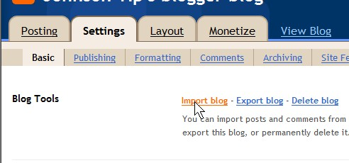 Import Blog link