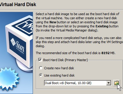 Pick use existing hard drive and click the folder icon