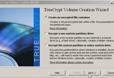 Pick create encrypted file container click next button.