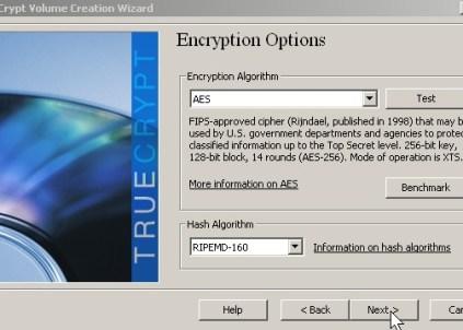 Pick encryption type click next button