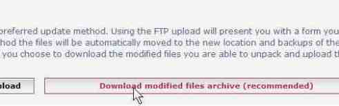 Scroll to bottom of the page and click download modified archieve file
