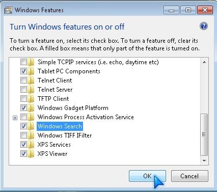 Turn ON or Turn OFF Windows File and Folder Search in Windows 7