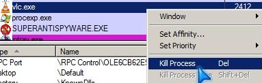 Process explorer kill task right click option