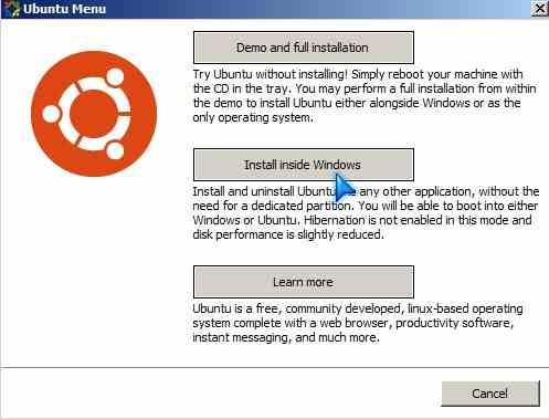 Click Install inside of Windows