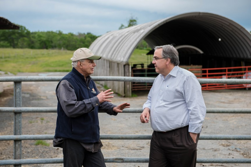Eastleigh Farm owner Doug Stephan talks with John Stefanini.