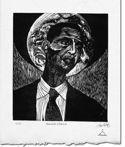 Obama ~ Linocut ~ John Steins