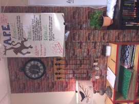 The brick photo paper on the wall was only $8 a roll at Hobby Lobby, and I used my 40% off coupon!