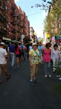 Janine in the crowd in Little Italy.